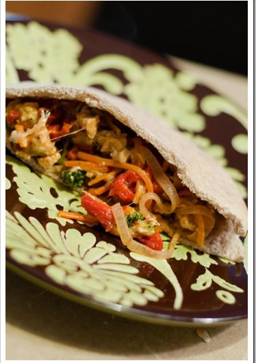Veggie Chicken Pitas
